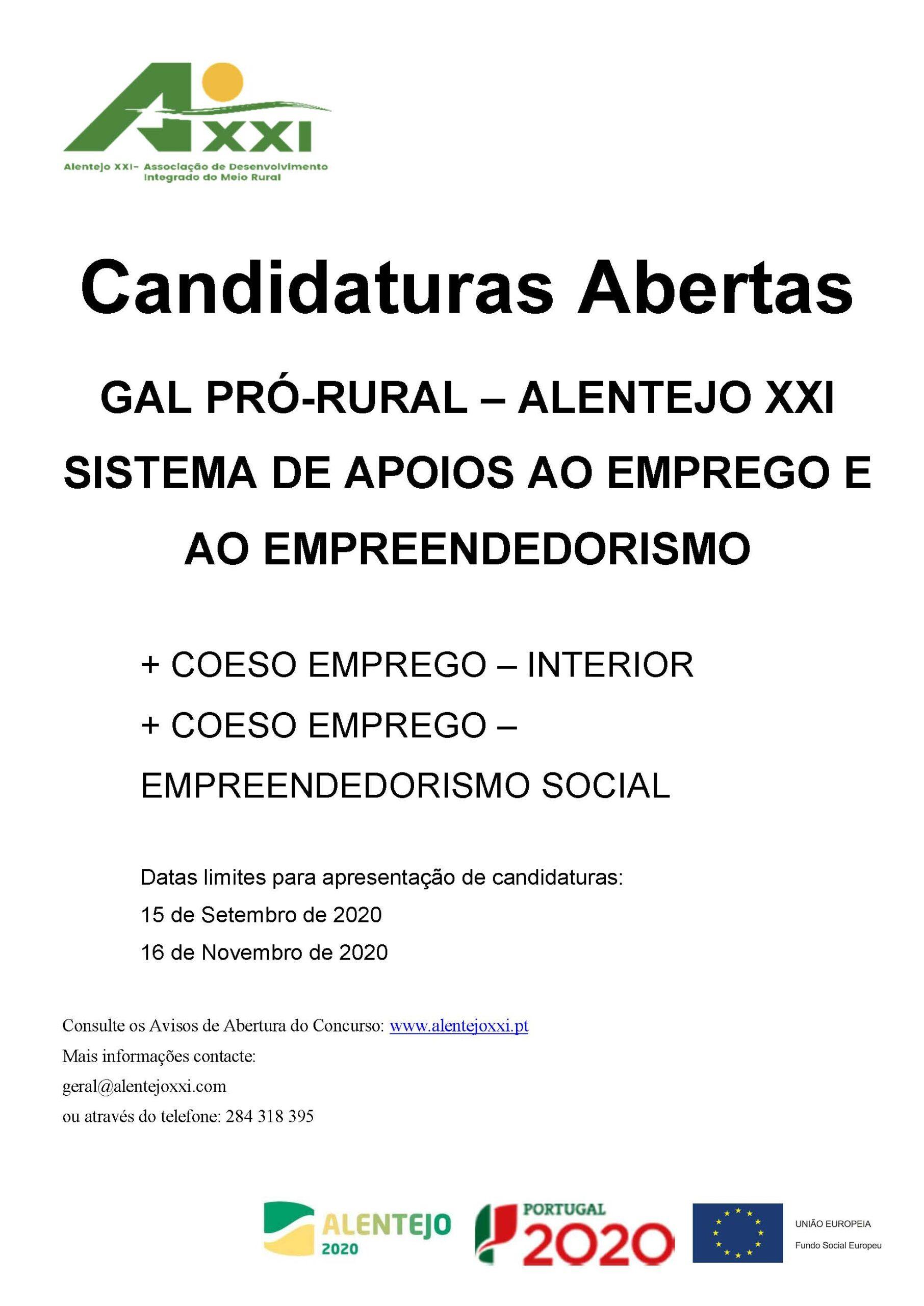 Candidaturas Abertas GAL PRÓ-RURAL – ALENTEJO XXI SISTEMA DE APOIOS AO EMPREGO E AO EMPREENDEDORISMO