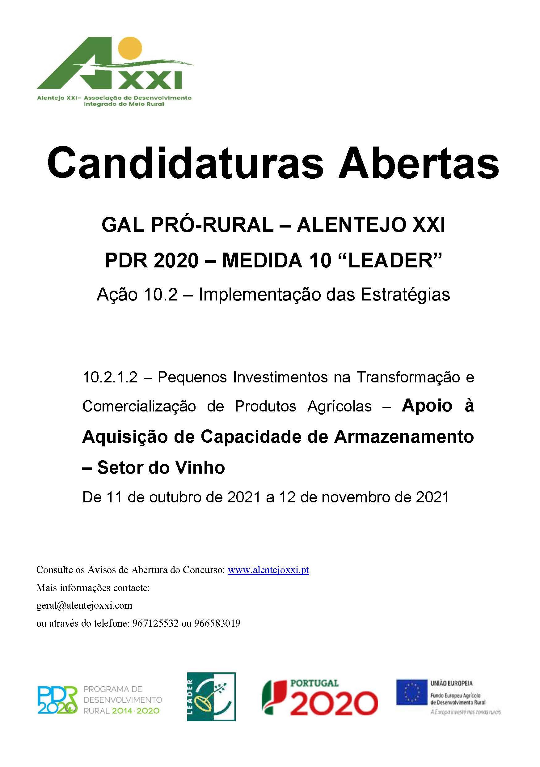 """GAL PRÓ-RURAL – ALENTEJO XXI PDR 2020 – MEDIDA 10 """"LEADER"""" Ação 10.2 – Implementação das Estratégias"""